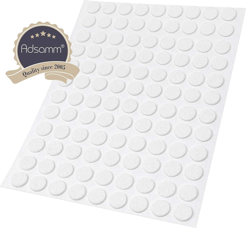 /Ø 10 mm Adsamm/® 108 x Filzgleiter 1.5 mm d/ünne selbstklebende Filz-M/öbelgleiter in Top-Qualit/ät Wei/ß rund