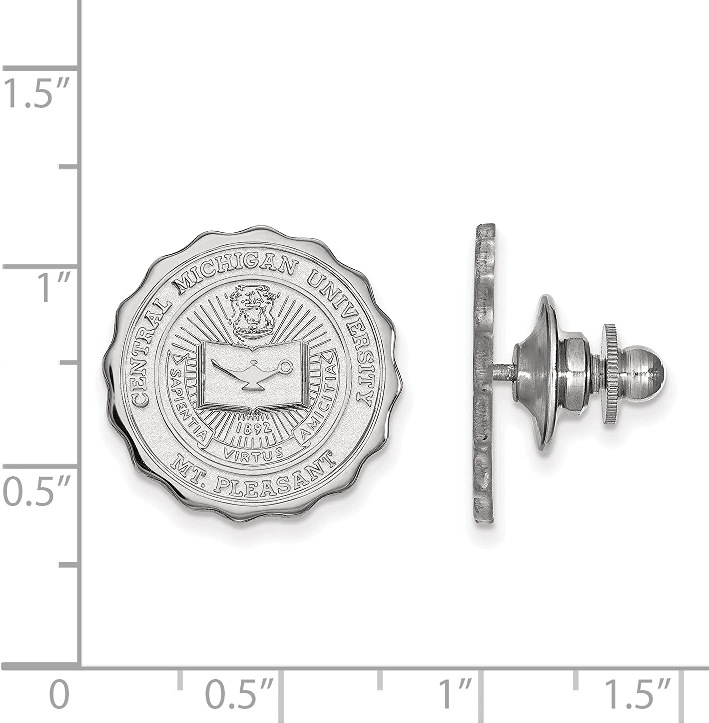 Central Michigan University Chippewas School Seal Lapel Pin in Sterling Silver 18x18mm