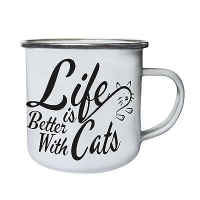 La vie est meilleure avec les chats qui sautent le chat Rétro, étain, émail tasse 10oz/280ml cc240e