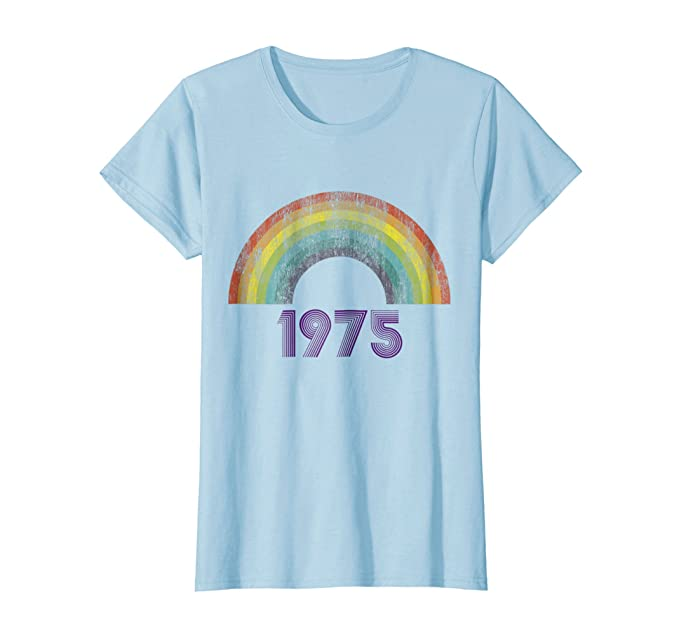 Women's 70s Shirts, Blouses, Hippie Tops I Love 70s Tshirt Vintage 1975 Rainbow Made In 1975 $19.95 AT vintagedancer.com