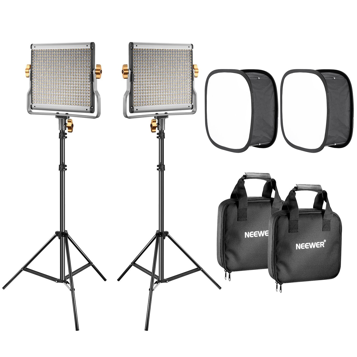 Neewer 2-Pack 480 LED Video Light Lighting Kit: Dimmable Bi-Color LED Panel(3200-5600K, CRI 96+), 75-Inch Light Stand and Softbox Diffuser for Photo Studio Product Portrait, YouTube Video Photography by Neewer