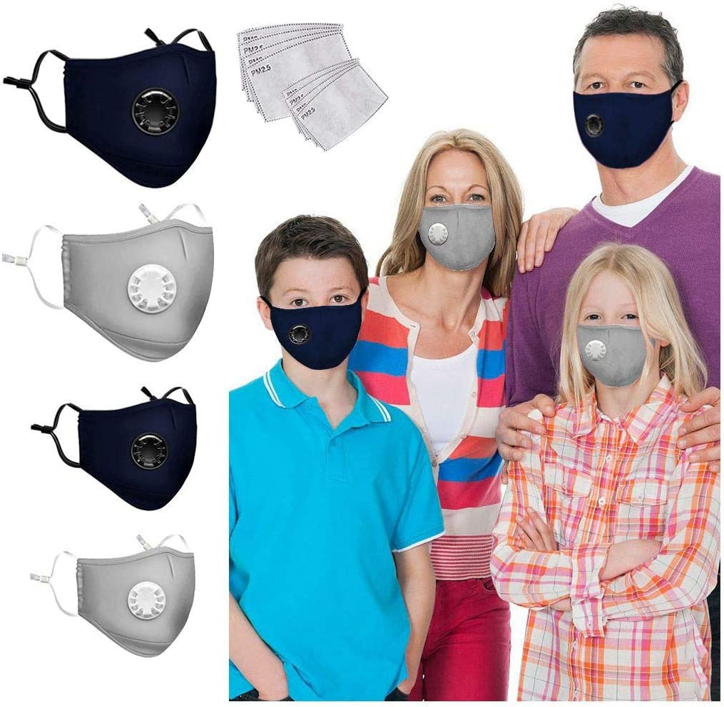 Blue LULU99 4PCS Reusable Family Face Bandanas with Valve and Replaceable Insert Pads,Breathable Cotton Face with Elastic Strap Earloops Washable Mouth Face Protections for Adult Kids
