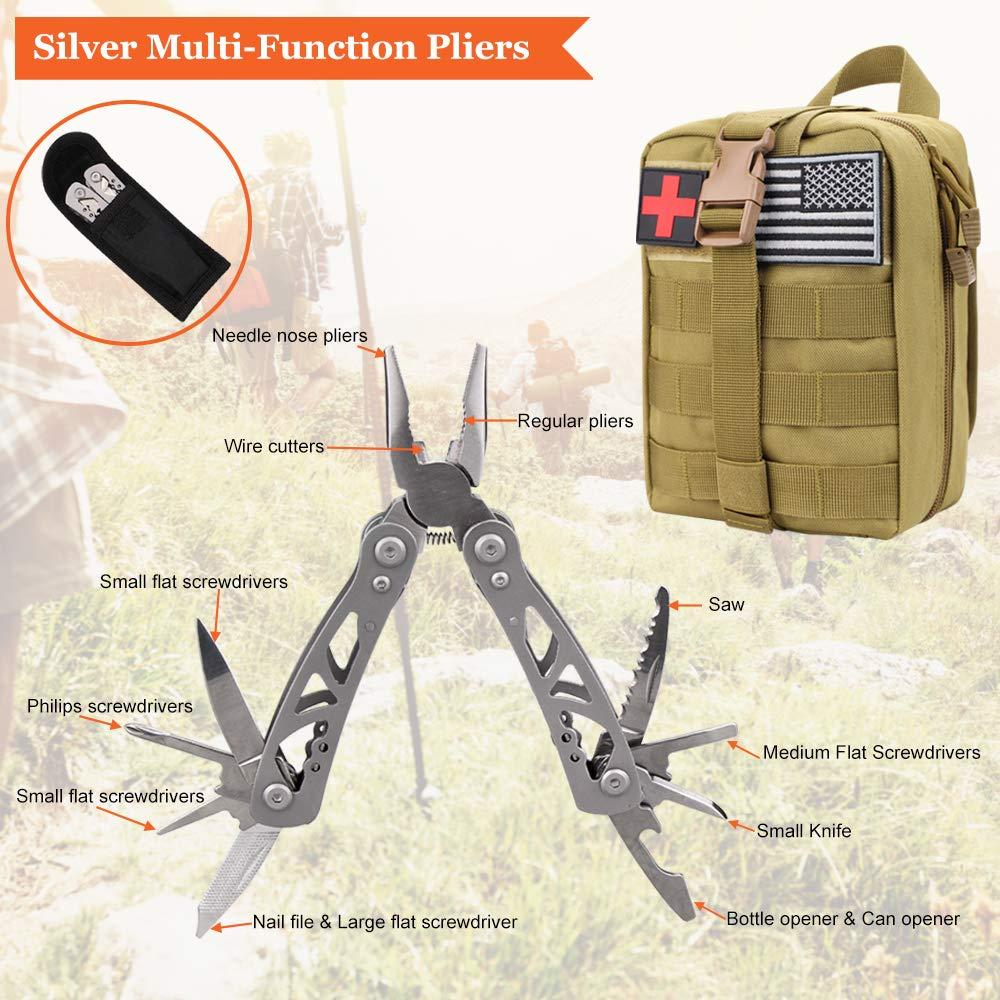 Monoki First Aid Survival Kit, 302Pcs Tactical Molle EMT IFAK Pouch Outdoor Gear EDC Emergency Survival Kits First Aid Kit Trauma Bag for Hiking Camping Hunting Car Travel or Adventures(Mud Yellow) by Monoki (Image #9)