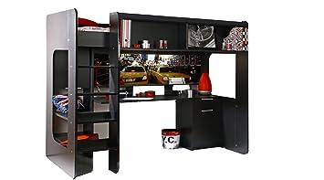 Ticaa kasper lit mezzanine avec 2 parisot de bureaux: amazon.fr