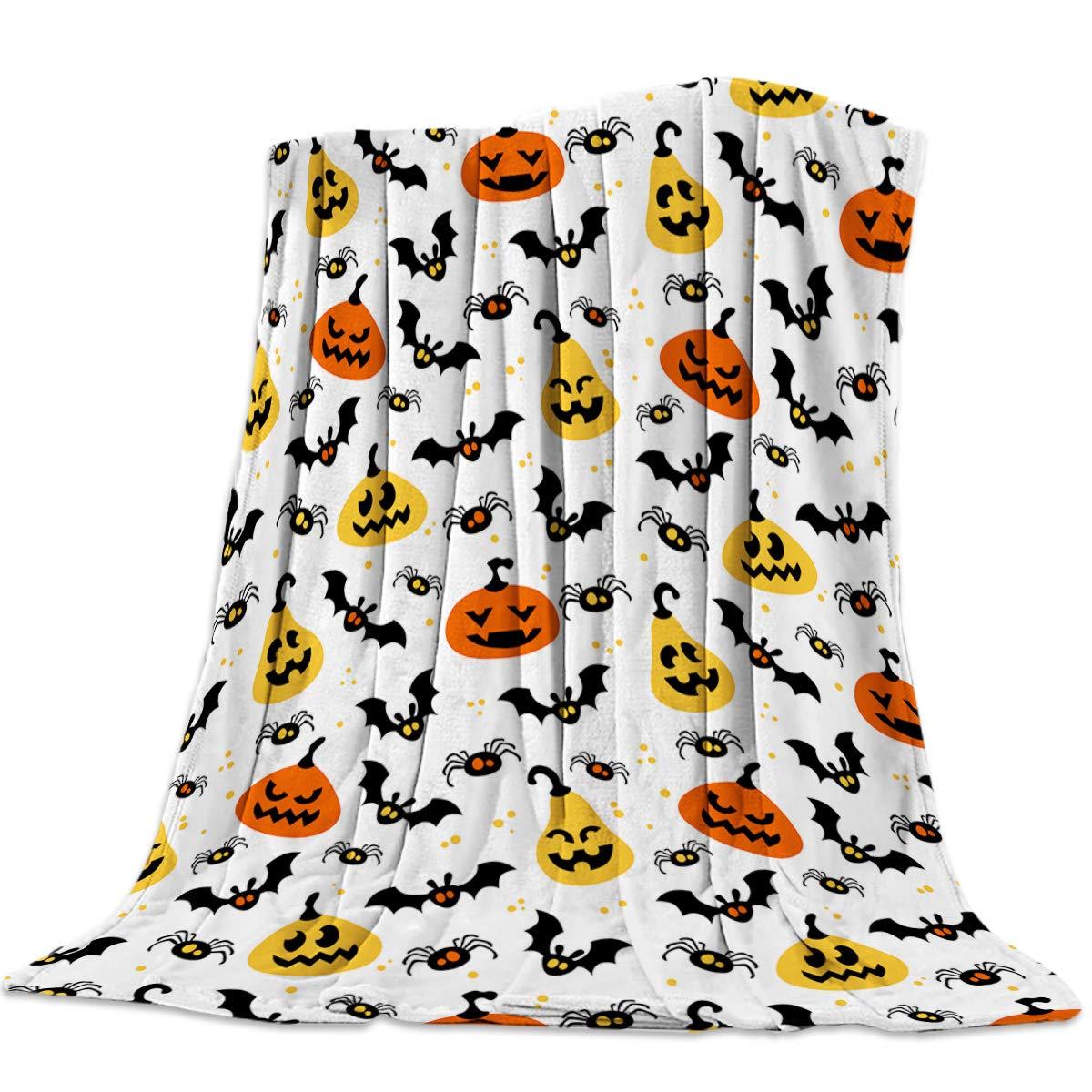 Halloween 21yag8406 39x49inch=100x125cm 39x49 Inch Flannel Fleece Bed Blanket Soft Throw-Blankets for Girls Boys,Funny Pumpkin Bat Spider Halloween Trick or Threat,Cozy Lightweight Blankets for Bedroom Living Room Sofa Couch