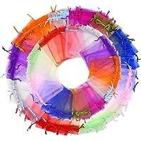 falllea 200 Piezas de Bolsas de Organza Bolsas de Regalo de Organza con cordón Bolsas de Dulces Bolsas de Caramelo Bolsos del Regalo del Favor para Boda Favores y Joyas