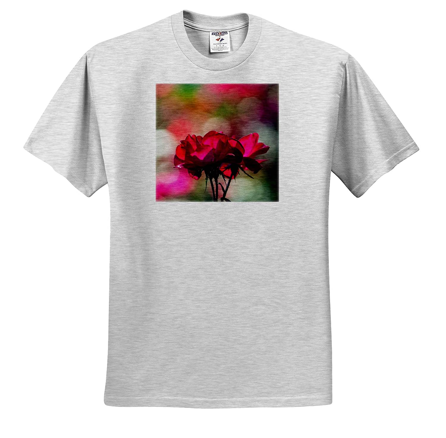 Beautiful Purple Rose Flowers Against The Colorful Blurry Background T-Shirts Flowers Rose 3dRose Alexis Photography