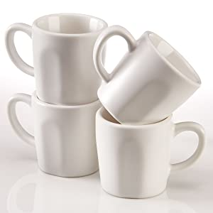 Espresso Cups by Easy Living Goods, Matte White Porcelain - 2.3 Ounce, Set of 4