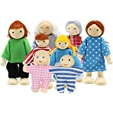 PUCKWAY Lovely Family Dollhouse Dolls Set of 8 Wooden Little People Figures, Kids Girls Happy Playset Characters Accessories