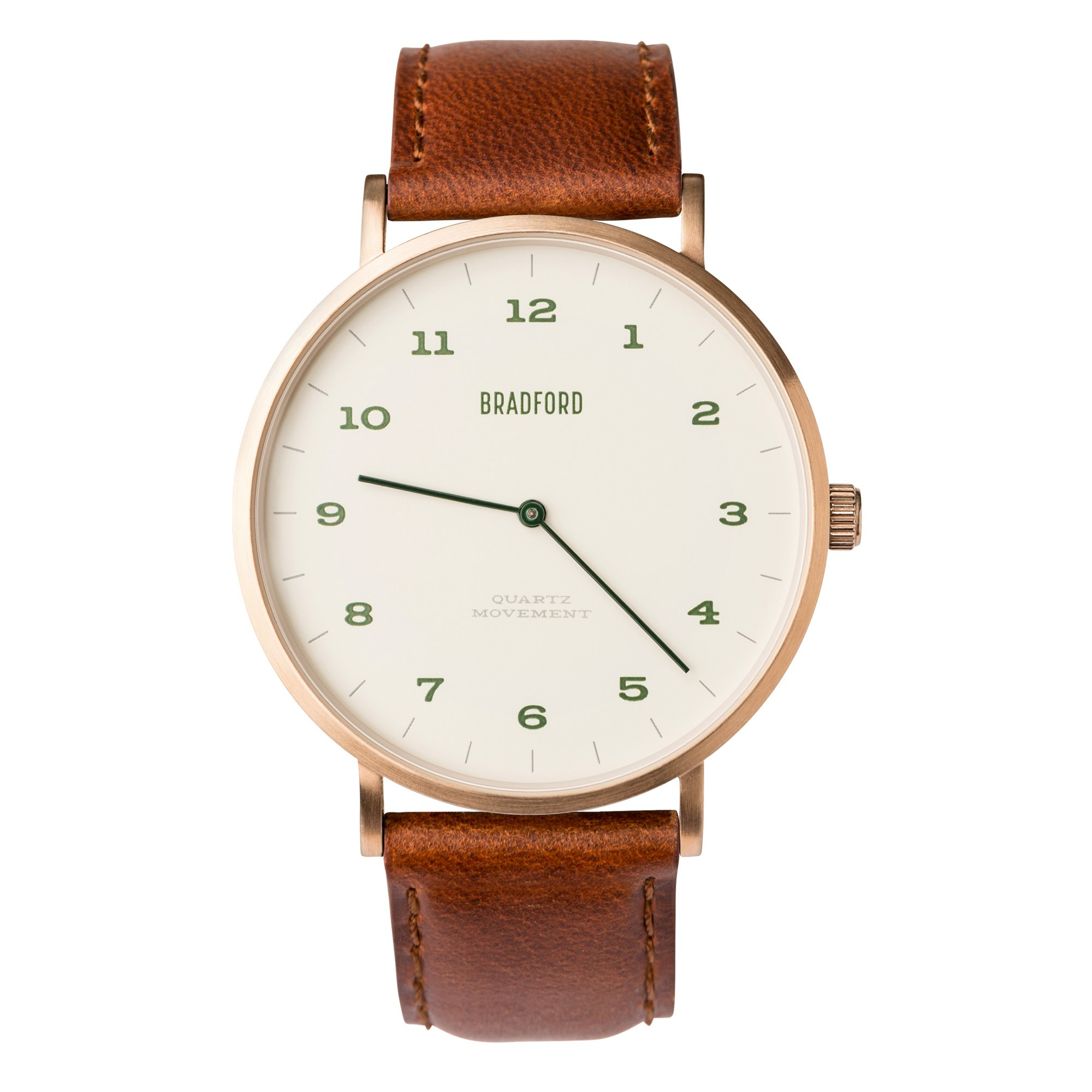 Bradford Watch Co Quartz Stainless Steel and Leather Casual Watch, Color:Brown (Model: B82245-03012)