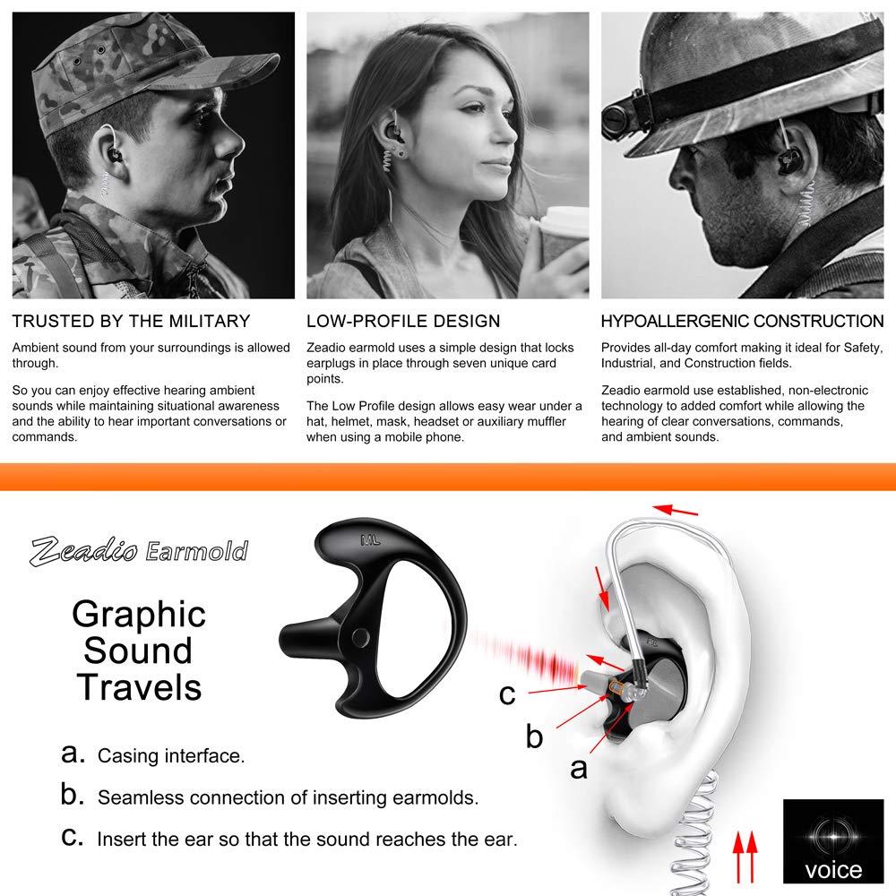 Garant/ía de por Vida Zeadio Auricular earmould Auriculares para Radio de Dos V/ías Bobina Tubo Kits de Audio