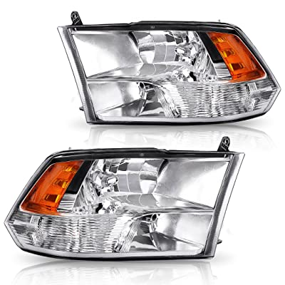 AUTOSAVER88 Headlight Assembly Compatible with 09-18 Dodge Ram 1500 2500 3500 Pickup QUAD,Chrome Housing with Daytime Running Lamps, ATHA0070: Automotive