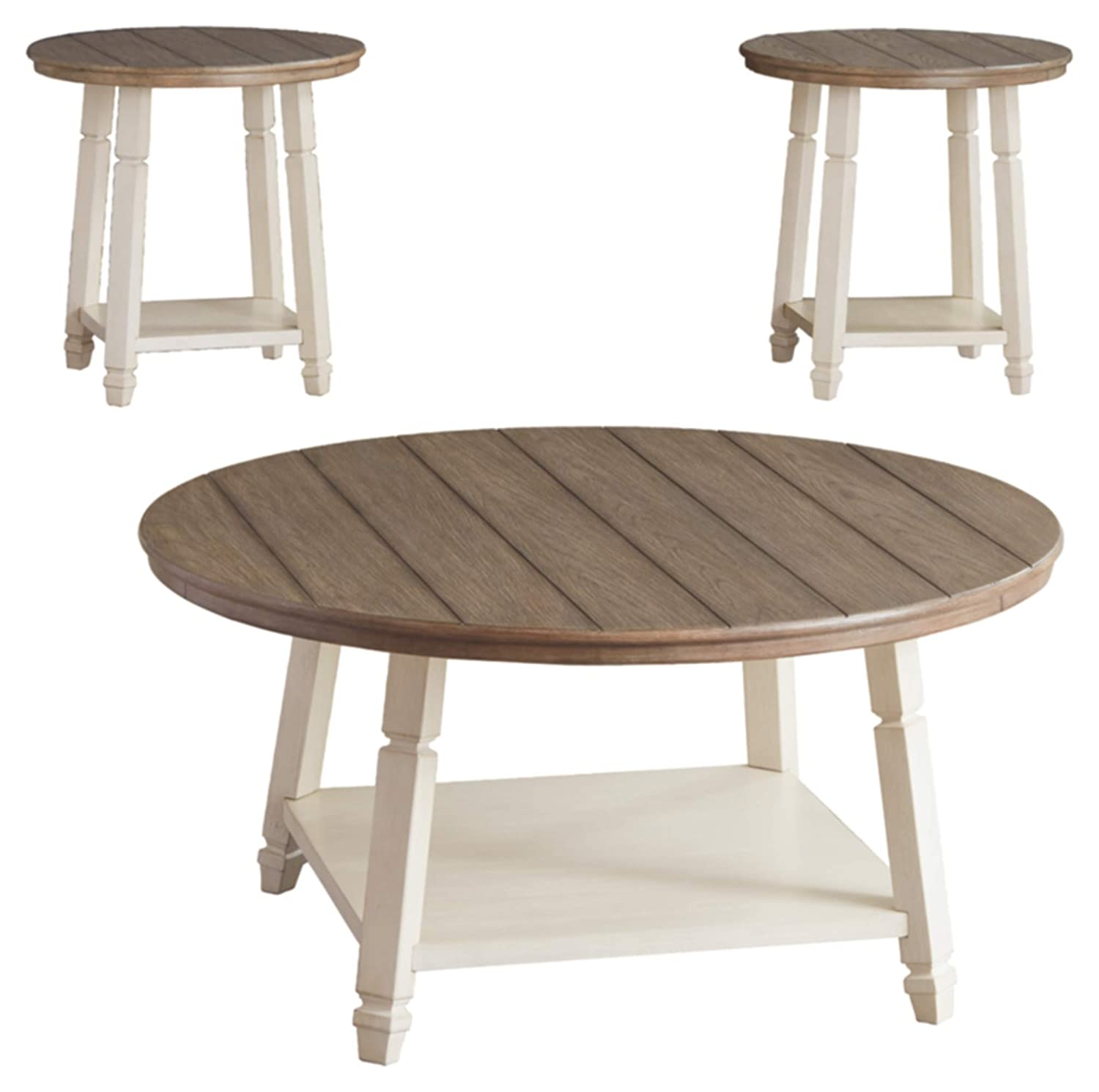 Round Coffee Table With Chairs.Ashley Furniture Signature Design Bolanbrook Occasional Table Set Set Of 3 Farmhouse Antique White