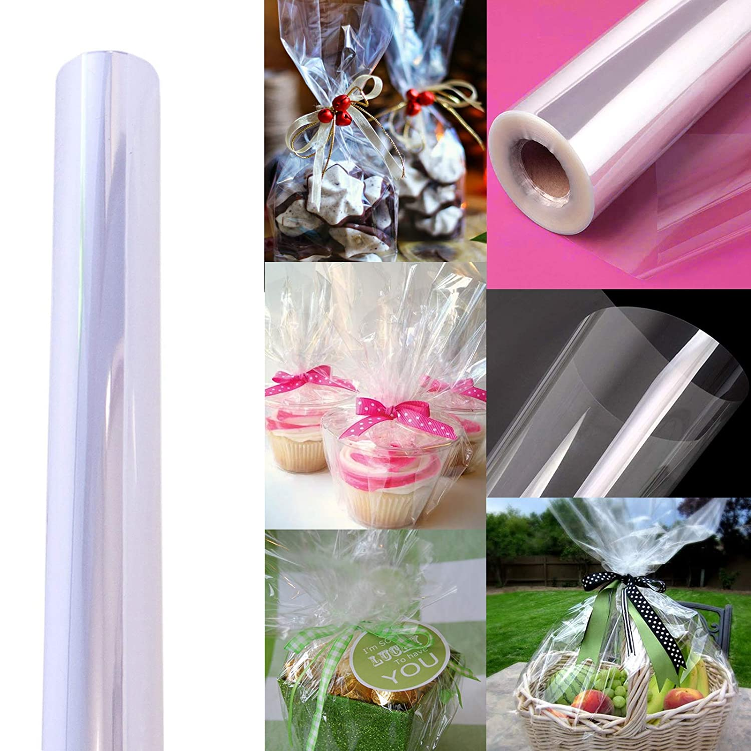 """Meets FDA Specifications Wide Clear Cellophane Wrap Roll 100/' Ft Treats by Anapoliz Wrapping Arts /& Crafts Baskets Gifts 2.3 Mil Thick Crystal Clear Long X 16/"""" in"""