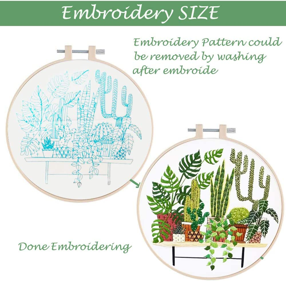 Tools Kit Embroidery Start Kit for Adults Including Embroidery Hoops Full Range of Embroidery Kit for Beginners with Pattern Floss Cloth with Pattern Needle,