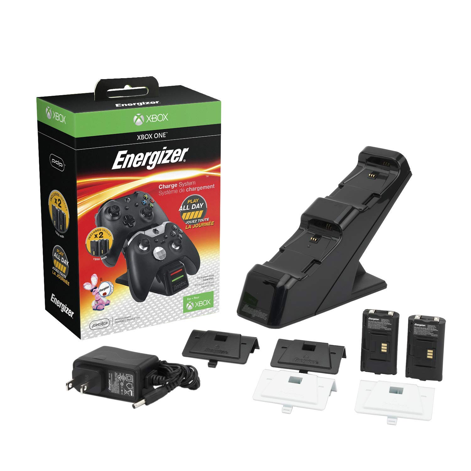 PDP Energizer Xbox One Controller Charger with Rechargeable Battery Pack for Two Wireless Controllers Charging Station Black (Package may Vary) - Standard (Black) Edition product image