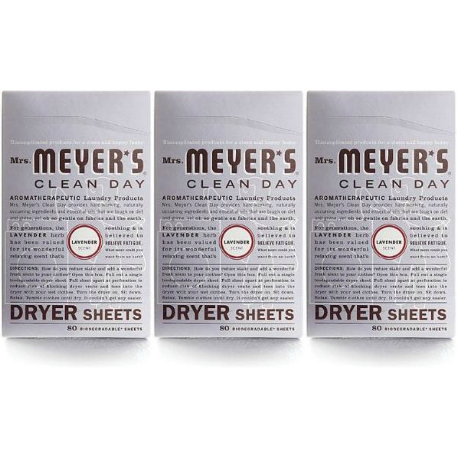 Mrs. Meyer's Clean Day ドライヤーシート ラベンダー 80枚 2パック 80 Sheets, (Pack of 3) B07JF7J8Z4