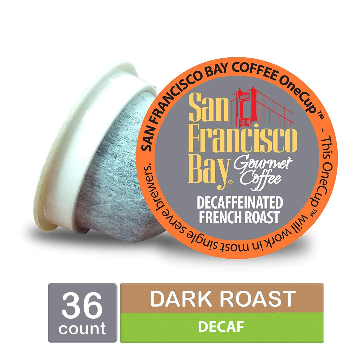 San Francisco Bay OneCup, DECAF French Roast, Single Serve Coffee K-Cup Pods (36 Count) Keurig Compatible, Swiss Water Process- Decaffeinated