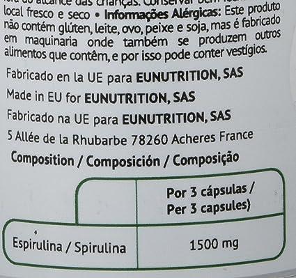 EU Nutrition Spirulina 100% BIO 500 mg - 100 Cápsulas: Amazon.es: Salud y cuidado personal