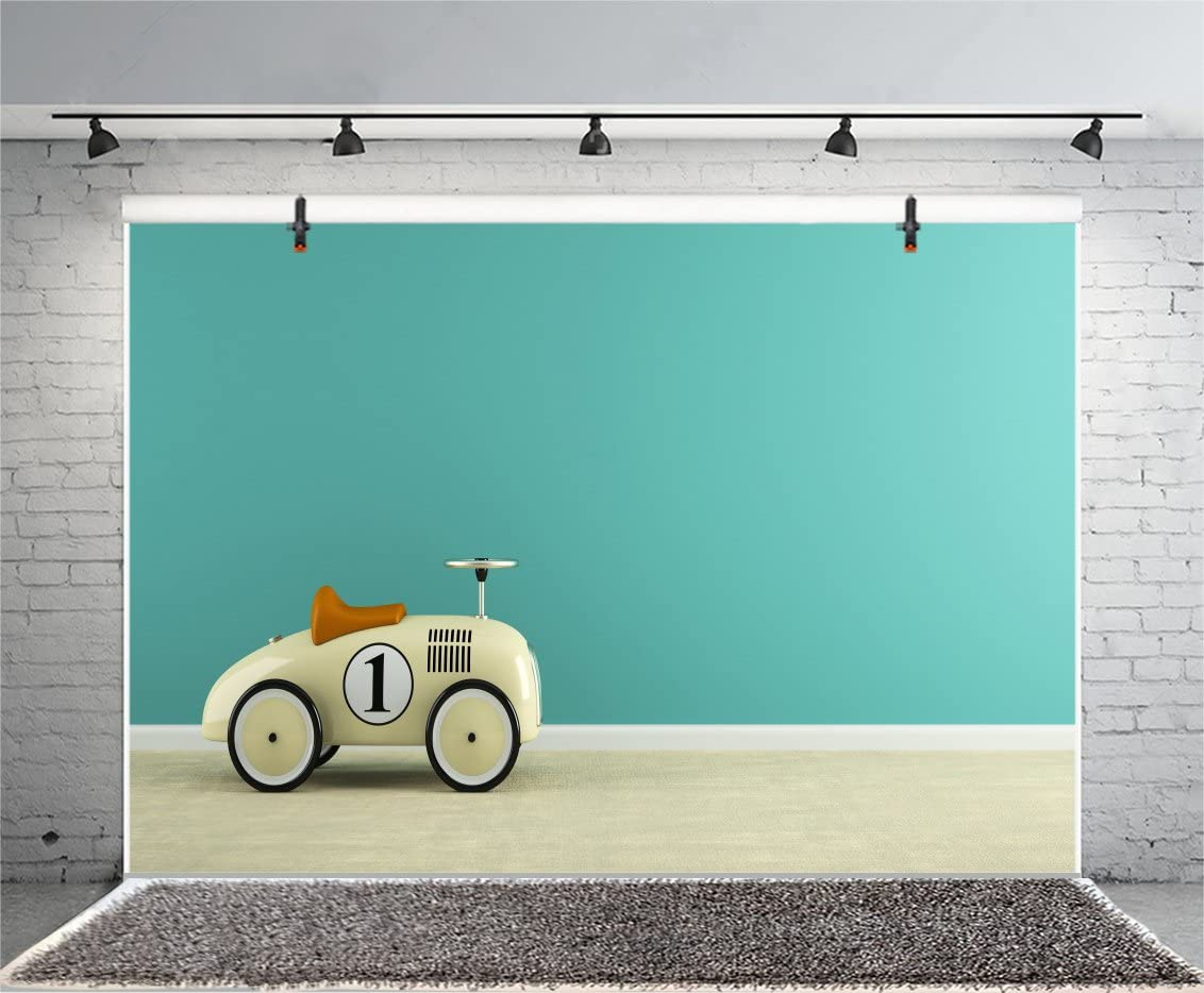 New Photography Backdrop Wood Wall 7x5 Blue Retro Car Backgrounds for Boy Golden Balloons Wooden Floor First Birthday Background for Boys Personalized