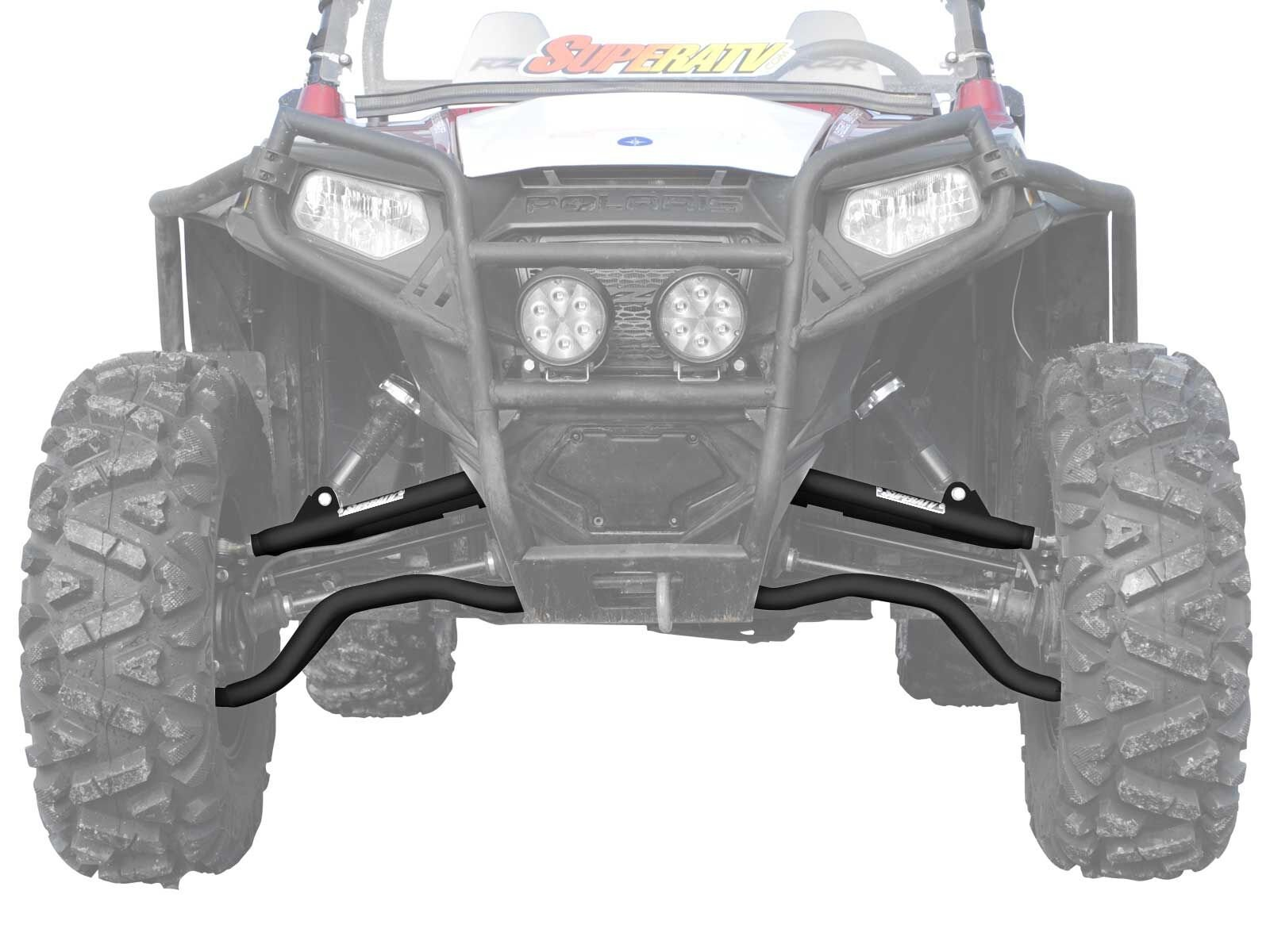 SuperATV Polaris RZR 800 4 / 800 S High Clearance Front A-Arms (2009-2014) - 0'' Forward Offset - Black