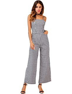 ec87db3a2824 Sedrinuo Womens Elegant Casual Work Jumpsuit Grid Straps Wide Leg Rompers