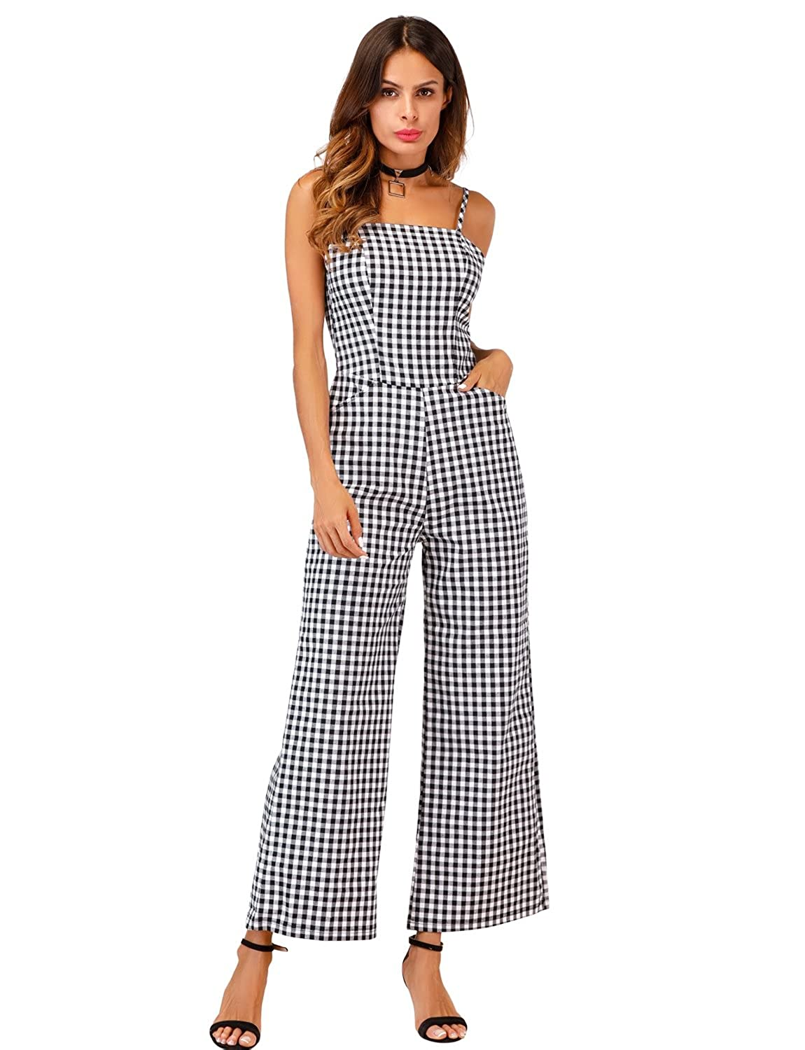 32a27fdd840 Sedrinuo Womens Elegant Casual Work Jumpsuit Grid Straps Wide Leg Rompers  at Amazon Women s Clothing store