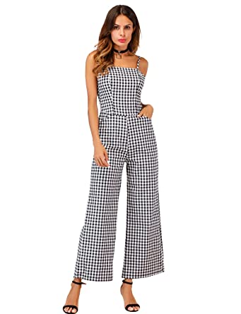 9f59e069463a24 Sedrinuo Womens Elegant Casual Work Jumpsuit Grid Straps Wide Leg Long  Pants Black Small