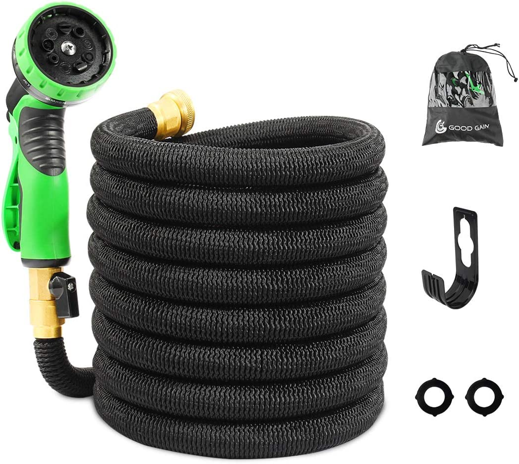 G GOOD GAIN 50 FT Expandable Garden Hose with 10 Function Water Spray Gun, Flexible Expanding Water Hose Set with Carry Bag & Hook,Car Wash, Backyard Hose with Brass Connectors Black