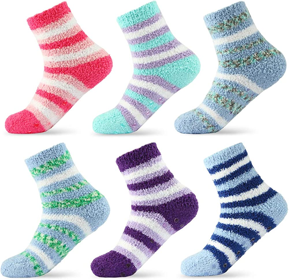 6 Pairs Womens Fuzzy Socks with Grips, Ladies Non Skid Winter Socks for Woman