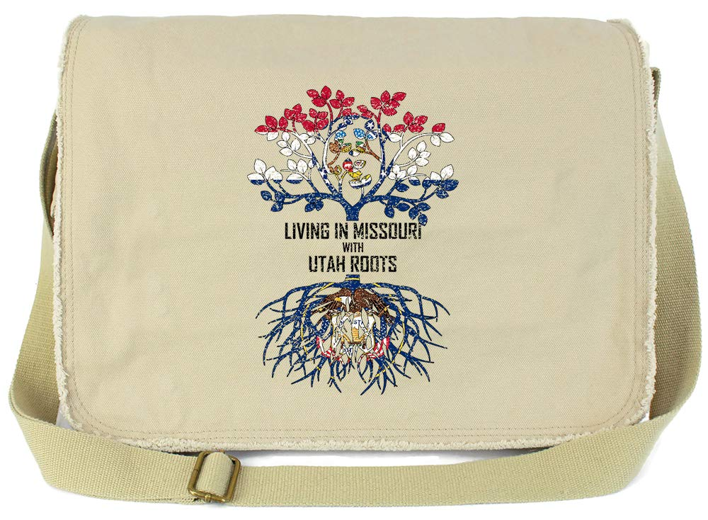 Tenacitee Living In Missouri with Utah Roots Grey Brushed Canvas Messenger Bag