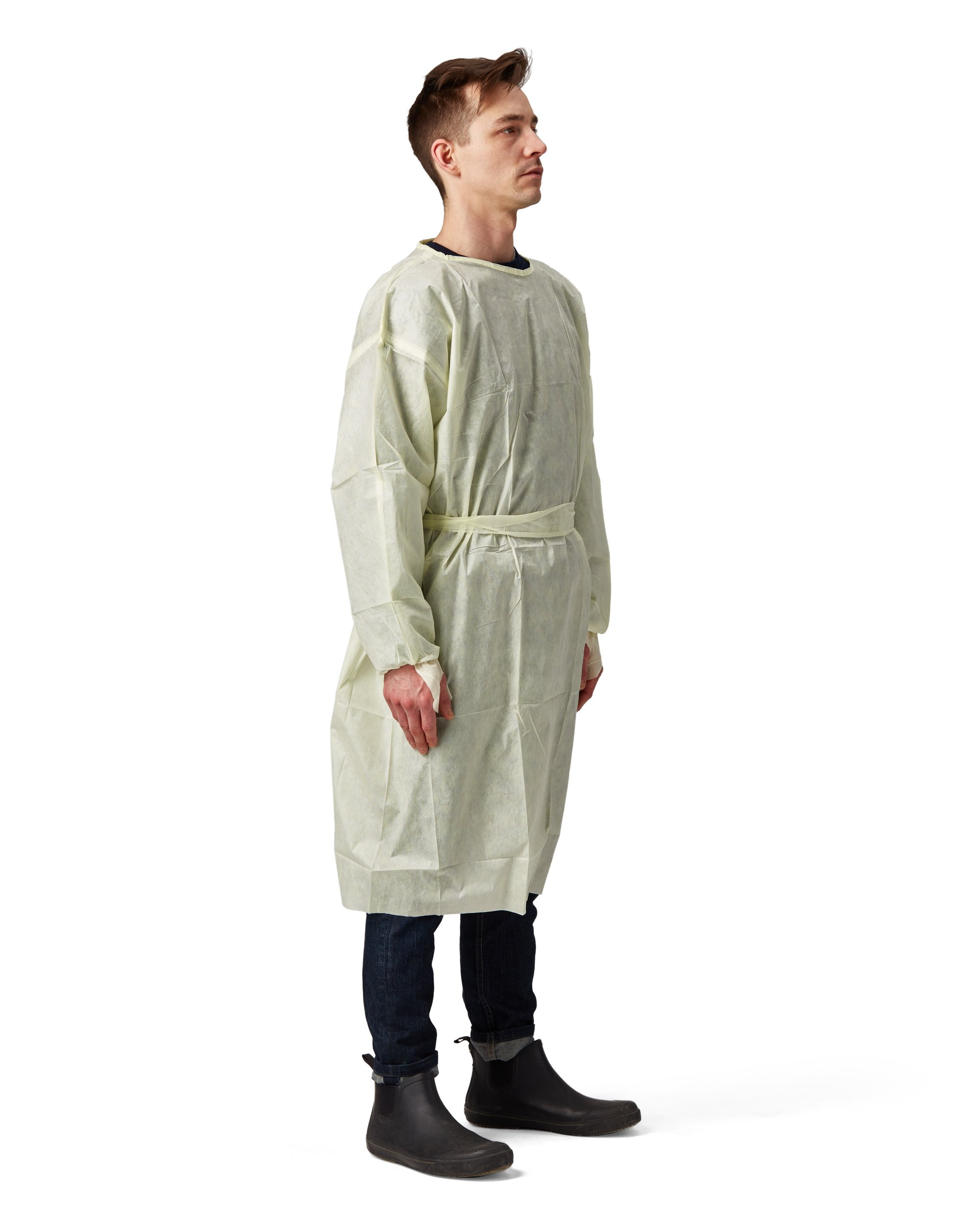 Disposable SMS Polypropylene Isolation Gown, with Elastic cuffs, Breathable, flexible, and fluid resistant. Professional Surgical gowns & Lab Coats. (10 Units, Regular)
