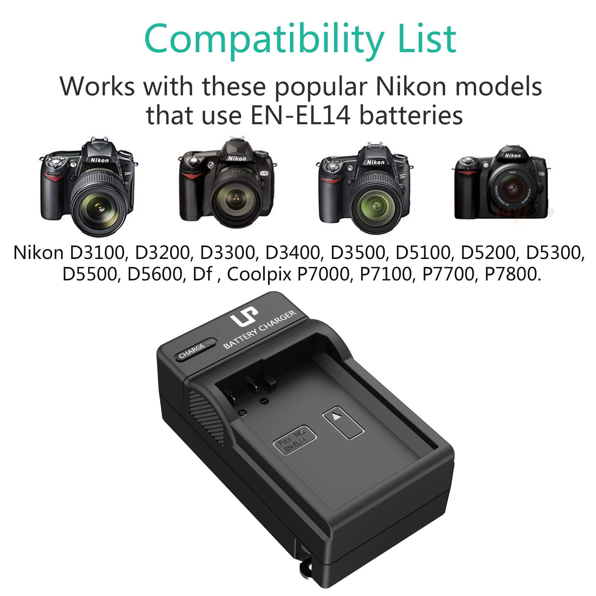 D5500 Compatible with Nikon D3100 P7000 LP EN-EL14 EN EL14a Battery D5100 D3300 D5300 D3200 D5600 D5200 D3400 D3500 DF P7700 /& More