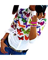 LHWY Donne Farfalla in Chiffon Top manica lunga camicia camicetta Casual
