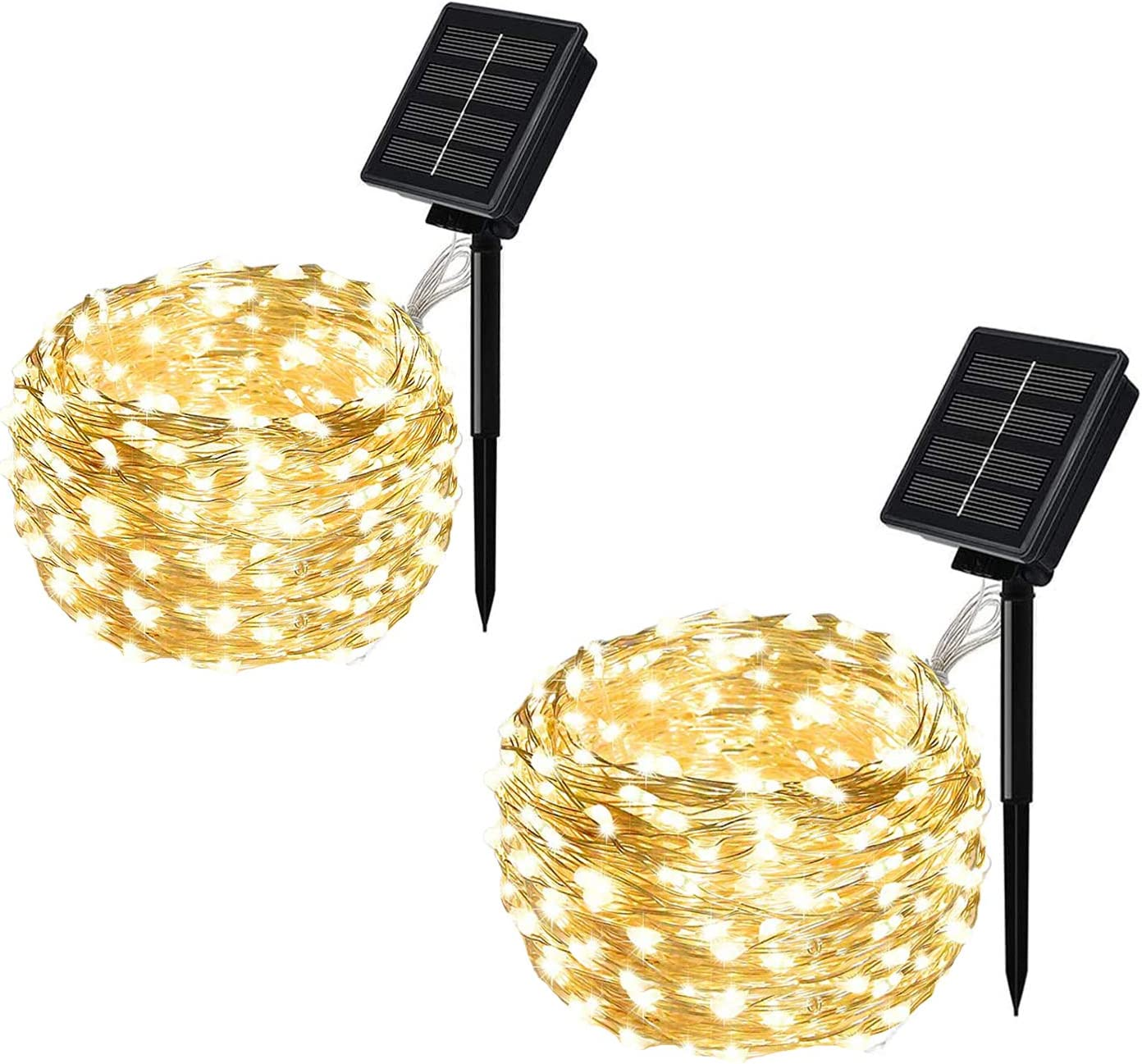 MAOKOT Solar Powered String Lights, 2 Pack 100 LED Mini Solar String Lights, 33ft 8 Modes Copper Wire Fairy String Lights for Garden Patio Party Wedding Christmas(Warm White)