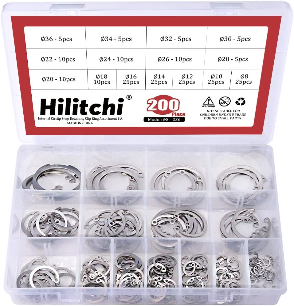304 Stainless Steel 15-Size Hilitchi 200-Pcs Internal Circlip Snap Retaining Clip Ring Assortment Set
