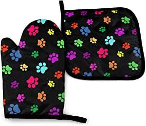 MSGUIDE Colorful Dog Cat Paw Print Oven Mitts Pot Holders Set, Heat Resistant Kitchen Waterproof with Inner Cotton Layer for Cooking BBQ Baking