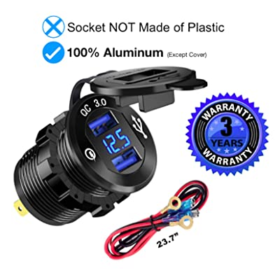 Quick Charge 3.0 Car Charger Black, Solid 12V/24V 36W Waterproof Aluminum Dual USB Charger Socket Power Outlet Adapter with LED Voltmeter & Wire Fuse DIY Kit for Car Boat Motorcycle & Marine: Electronics