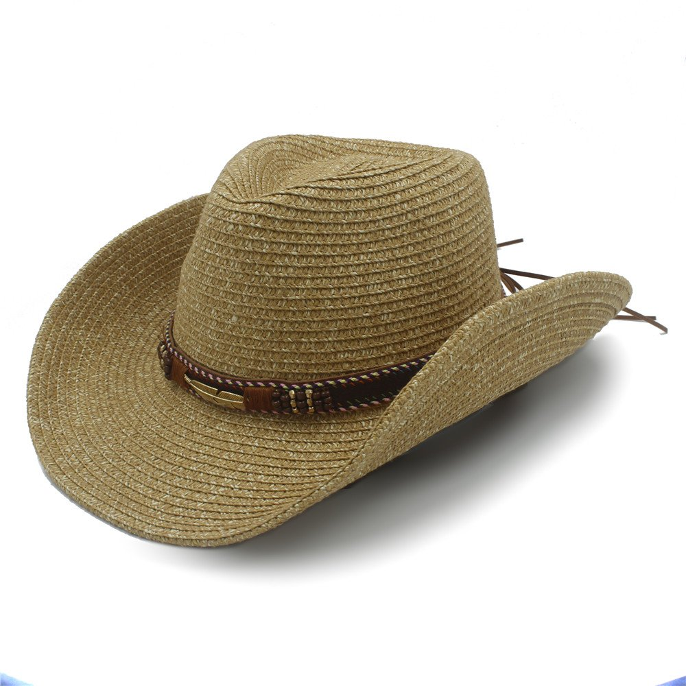 Ruanyi Summer Straw Hollow Western Cowboy Hat With Fashion Leather for Women Men