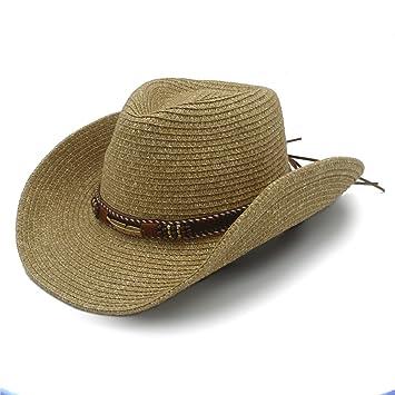 f59fccfa98f3e Best Choise Sombrero de Vaquero Occidental Hueco para Hombres Sombrero de Paja  para Mujeres con cinturón