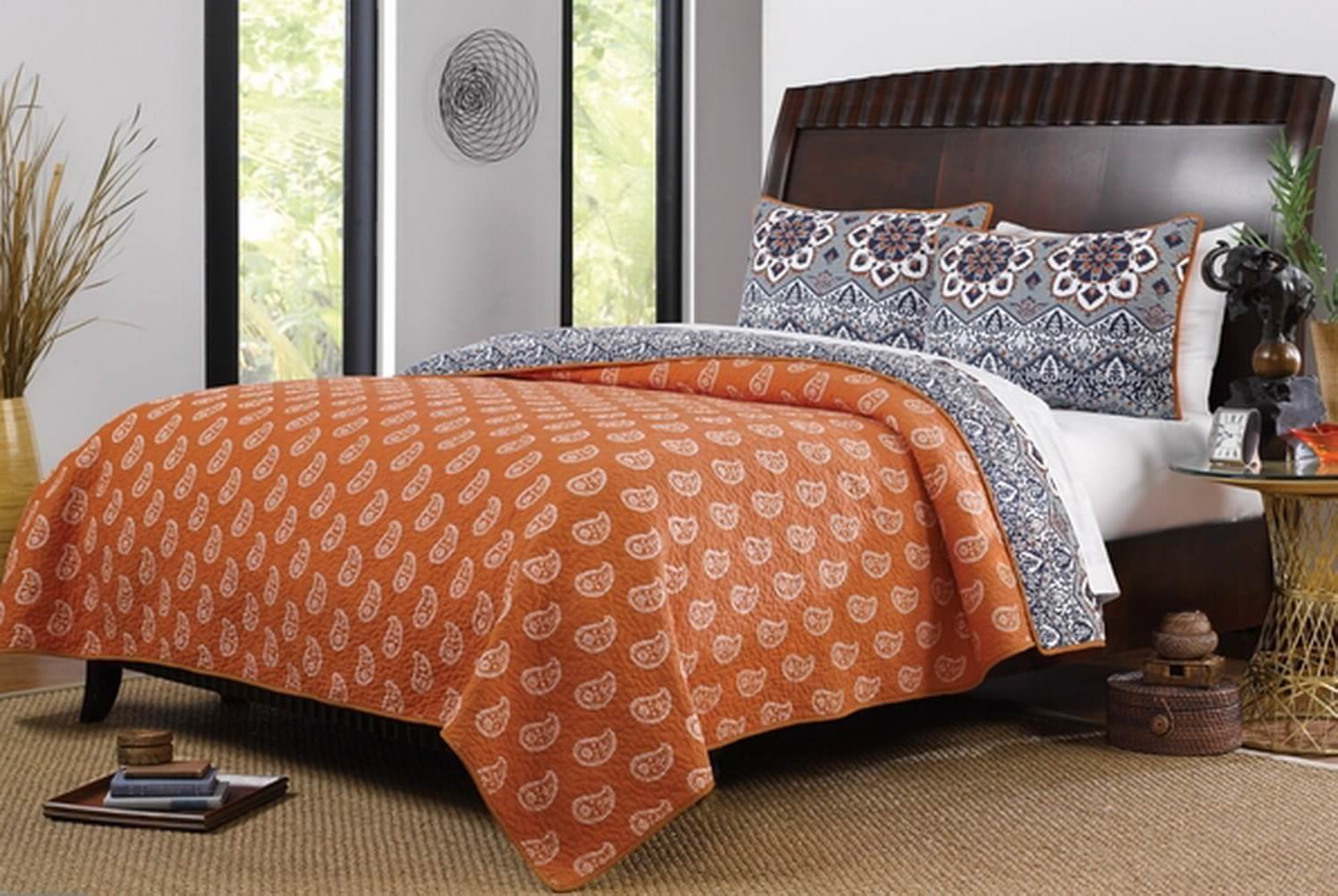 Brown and orange bedding - Boho Chic Moroccan Paisley Pattern Grey Orange Cotton 3 Piece Full Queen Size Quilt Bedding
