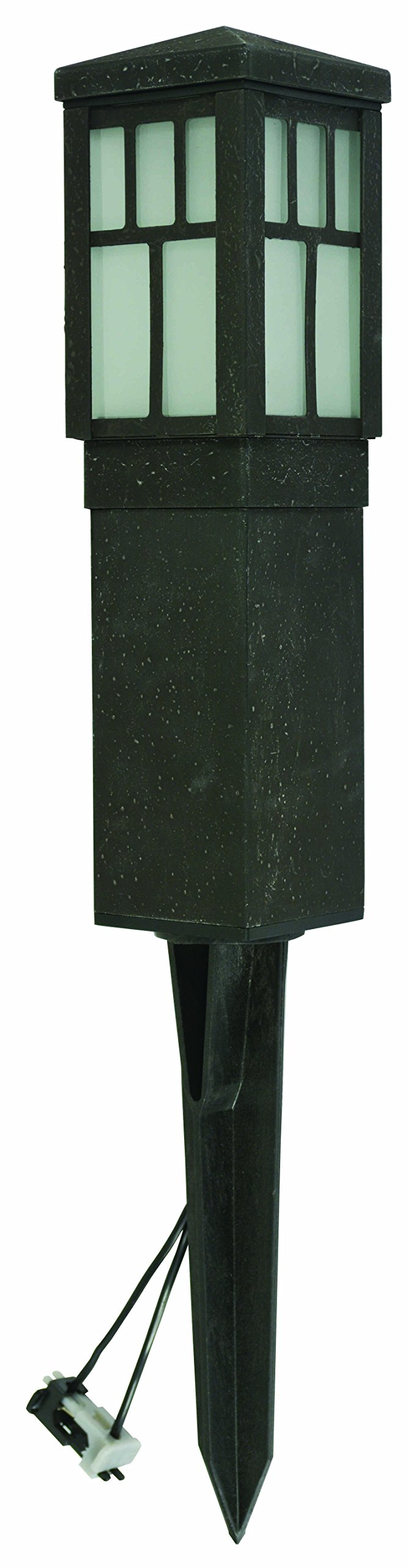 LED Landscape Lighting Malibu 8419-4321-01 low voltage aged iron finish square metal bollard light 0.6watt