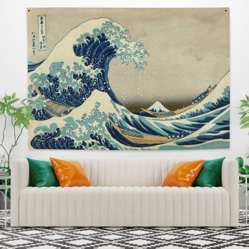 Yongto 59.1x39.4 Inches Wave Tapestry Ocean Wave Tapestry The Great Wave Off Kanagawa Katsushika Hokusai Thirty-six Views Mount Fuji Tapestry Wall Hanging for Bedroom Living Room Decor
