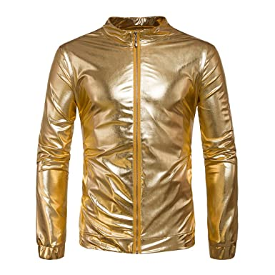 70a679e29f2 Hzcx Fashion Men s Gold and Silver Shiny Lightweight Slim Fit Bomber Jackets  at Amazon Men s Clothing store