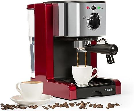 Klarstein Passionata Rossa 20 - machine à expresso, capuccino, puissance de 1470W, 1,25 litre de volume (6 tasses), décharge de pression auto, buse à vapeur pour mousse de lait, rouge