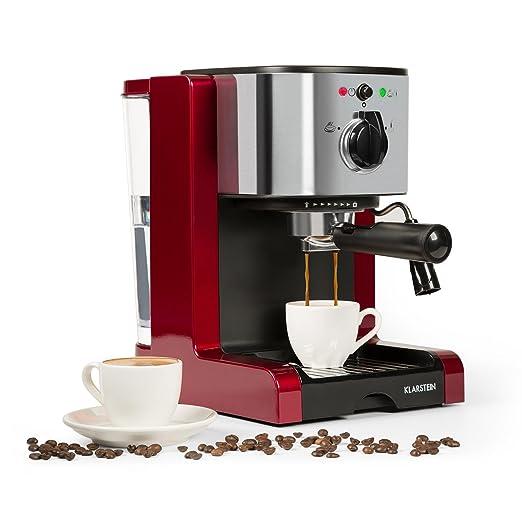 Klarstein Passionata Rossa 20 - Máquina de espresso , Cafetera automática , Espumadora , 1350W , 1,25L de capacidad (6 Tazas) , Descarga de presión ...