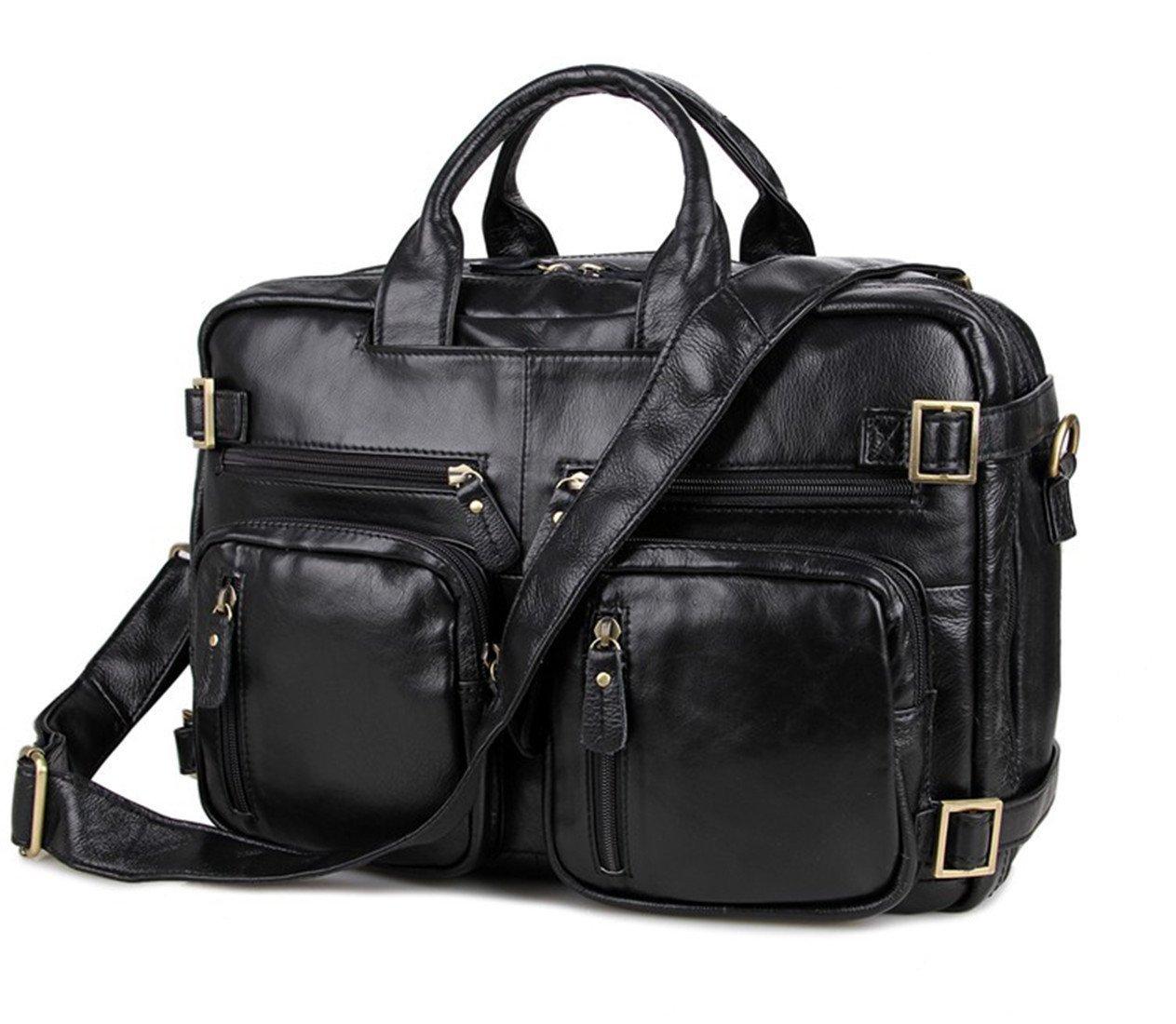 Men Leather Laptop Briefcase Backpack Shoulder Tote Bag