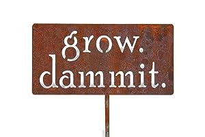 Medium and Large Grow. Dammit. Metal Garden Stake