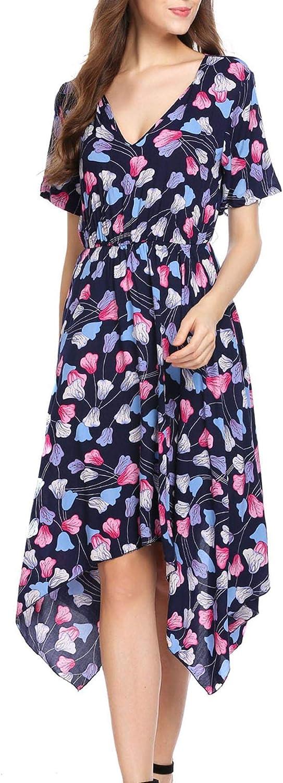 Meaneor Womens V Neck Short Sleeve Floral Print Handkerchief Hem Casual Swing Tunic Midi Dress