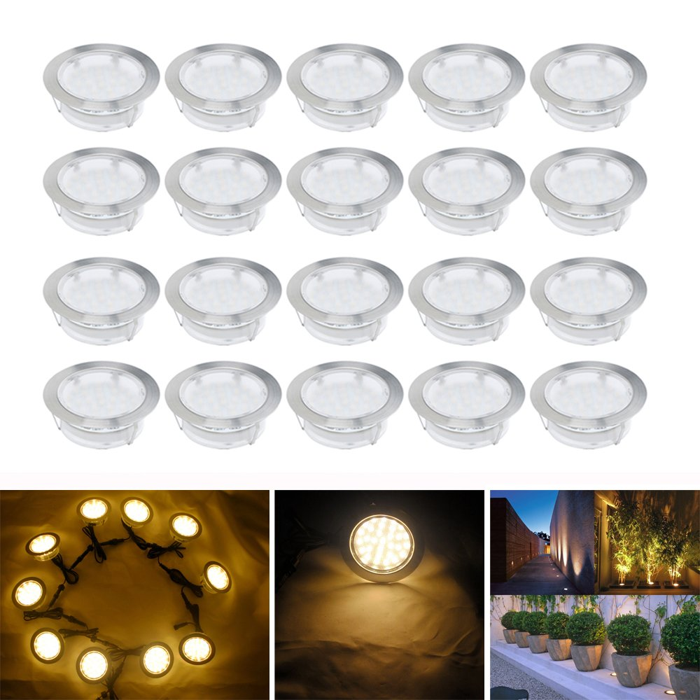 Warm White 80mm Large Led Decking Lights Outdoor Low Voltage 12v IP67 2.5W Waterproof Deck Lighting Kits Pack of 10
